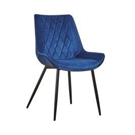 Concept design Nebesky modrá sametová jídelní židle Calista