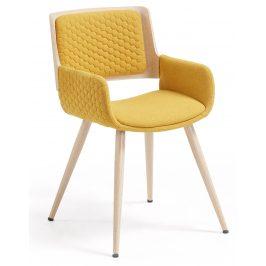 Hořčicově žlutá čalouněná jídelní židle LaForma Andre