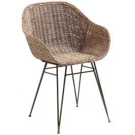 Hnědá ratanová jídelní židle LaForma Charley s područkami