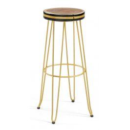 Dřevěná barová židle LaForma Farley se zlatou podnoží