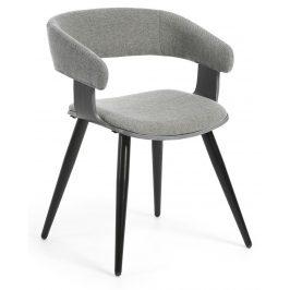 Světle šedá čalouněná jídelní židle LaForma Heiman s topolovou podnoží