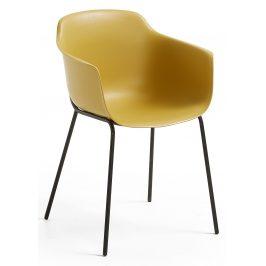 Hořčicově žlutá plastová jídelní židle LaForma Khasumi