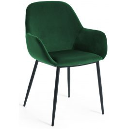 Zelená sametová jídelní židle LaForma Konna