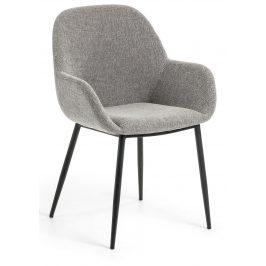 Světle šedá čalouněná jídelní židle LaForma Konna