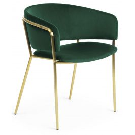 Zelená sametová jídelní židle LaForma Konnie