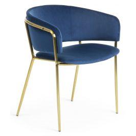 Modrá sametová jídelní židle LaForma Konnie