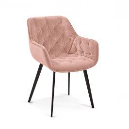 Růžová sametová jídelní židle LaForma Mulder