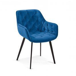 Modrá sametová jídelní židle LaForma Mulder