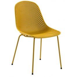 Žlutá plastová jídelní židle LaForma Quinby