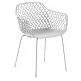Bílá plastová jídelní židle LaForma Quinn s područkami