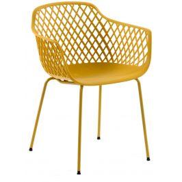 Hořčicově žlutá kovová jídelní židle LaForma Quinn s područkami
