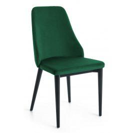 Zelená sametová jídelní židle LaForma Roxie s černou podnoží