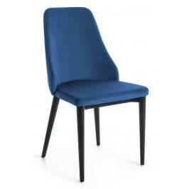 Modrá sametová jídelní židle LaForma Roxie s černou podnoží