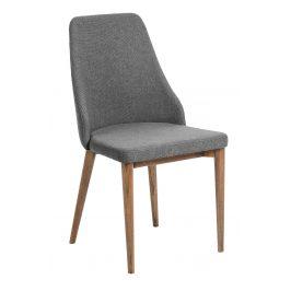 Tmavě šedá čalouněná jídelní židle LaForma Roxie s ořechovou podnoží