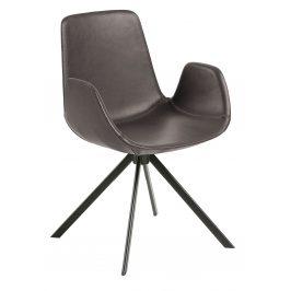 Tmavě hnědá kožená jídelní židle LaForma Yasmin s područkami