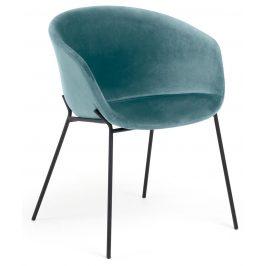 Tyrkysová sametová jídelní židle LaForma Zadine