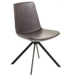 Tmavě hnědá kožená jídelní židle LaForma Zast
