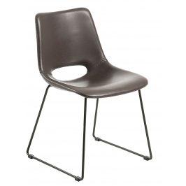 Tmavě hnědá kožená jídelní židle LaForma Ziggy