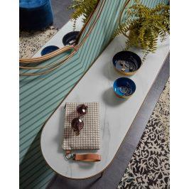 Bílý skleněný toaletní stolek LaForma Elisenda 110 x 35 cm
