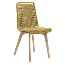Hořčicově žlutá pletená jídelní židle LaForma Glendon