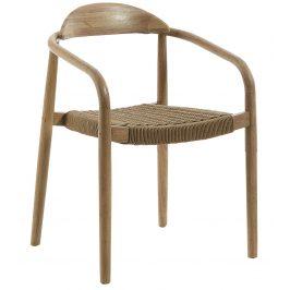 Hnědá dřevěná jídelní židle LaForma Glynis s područkami