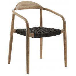 Tmavě šedá dřevěná jídelní židle LaForma Glynis s područkami