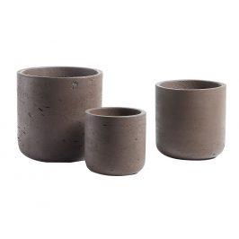 Set tří hnědých betonových květináčů LaForma Lux
