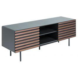 Grafitově černý dřevěný TV stolek LaForma Mahon 162x58 cm