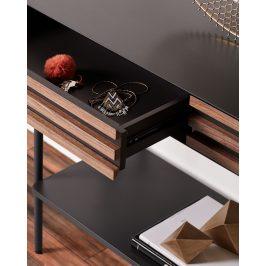 Grafitově černý dřevěný toaletní stolek LaForma Mahon 120 x 40 cm
