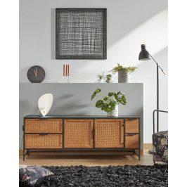 Černý kovový TV stolek LaForma Kyoko 150 x 40 cm