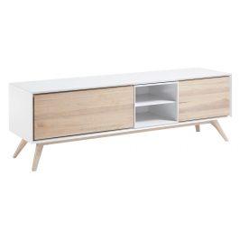 Bílý dřevěný TV stolek LaForma Quatre 174 x 45 cm Stolky pod TV