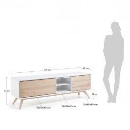 Bílý dřevěný TV stolek LaForma Quatre 174 x 45 cm