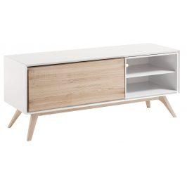 Bílý dřevěný TV stolek LaForma Quatre 134 cm