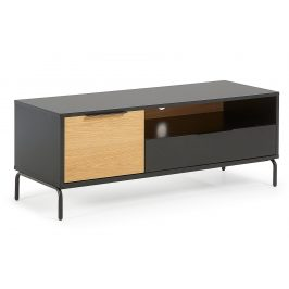 Matně černý dřevěný TV stolek LaForma Savoi 120 x 50 cm