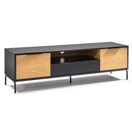 Matně černý dřevěný TV stolek LaForma Savoi 170 x 45 cm