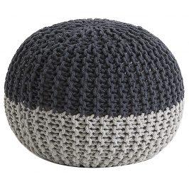 Černošedý pletený puf LaForma Arieh 50 cm