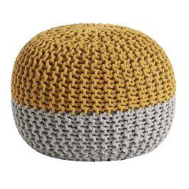 Žlutošedý pletený puf LaForma Arieh 50 cm