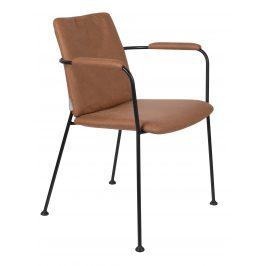 Hnědá čalouněná jídelní židle ZUIVER FAB s područkami