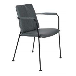 Šedomodrá čalouněná jídelní židle ZUIVER FAB s područkami