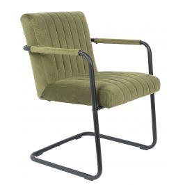 Olivově zelená sametová jídelní židle DUTCHBONE Stitched s područkami
