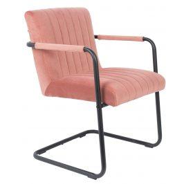 Růžová sametová jídelní židle DUTCHBONE Stitched s područkami