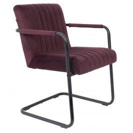 Fialová sametová jídelní židle DUTCHBONE Stitched s područkami