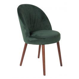 Zelená sametová židle DUTCHBONE Barbara