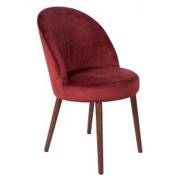 Červená sametová židle DUTCHBONE Barbara
