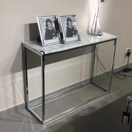 Bílý mramorový toaletní stolek RGE Accent s chromovou podnoží 100 cm