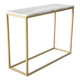 Bílý mramorový toaletní stolek RGE Accent s matnou zlatou podnoží 100 cm