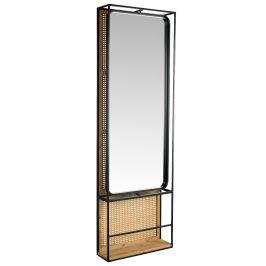Ratanový nástěnný modul se zrcadlem DUTCHBONE Langres L