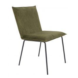 White Label Living Olivově zelená sametová jídelní židle WLL FLOKE