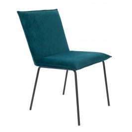 White Label Living Petrolejově modrá sametová jídelní židle WLL FLOKE
