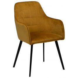 Žlutá sametová jídelní židle Dan-Form Embrace